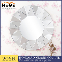 Artistic sense round decorative wall mirror with small triangular facet