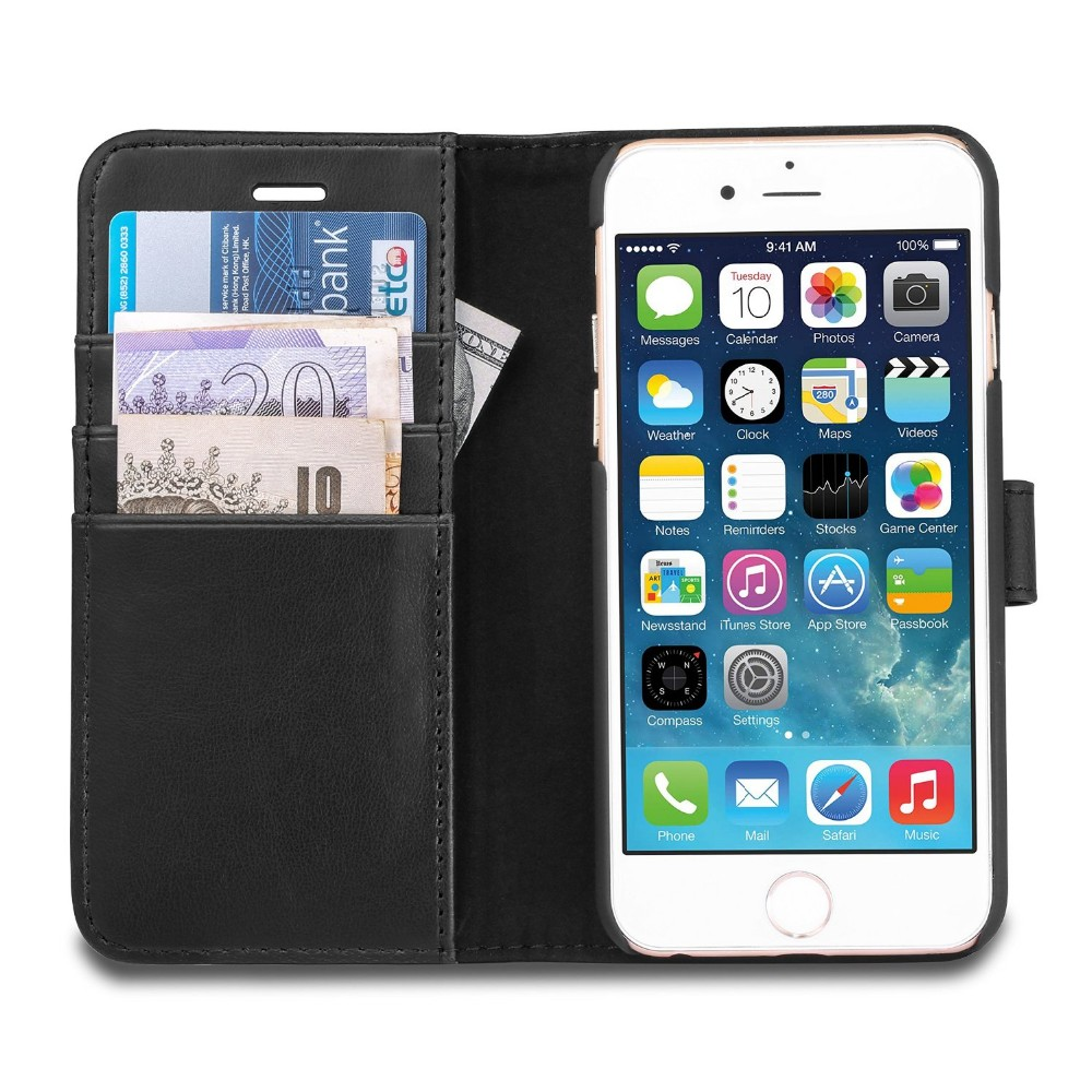 Mobile Phone Protector Leather Case With Card Solts And Hidden Pockets To Store Money