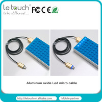 LED indicator aluminum shining braided Micro USB Cable for all Android
