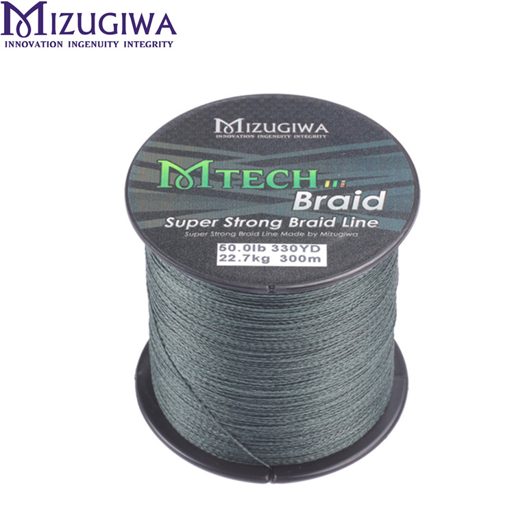 MIZUGIWA Fishing Line multifilament <strong>PE</strong> 4 strands Saltwater Braided 300m 15lb - 50lb