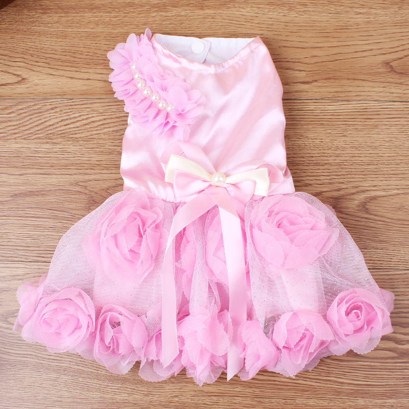 Honorable pearl decoration rose gown dress dog clothes pet accessories