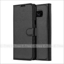 Card Holder stand Flip Book Lichee Wallet Leather Phone Case Cover For Samsung Galaxy s8