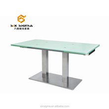 hot sell glass top dining extendable table