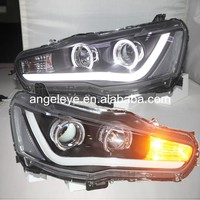 For Mitsubishi for Lancer Exceed LED Angel Eyes Head Light with Bi Xenon Projector Lens 2008-2013 year YZ