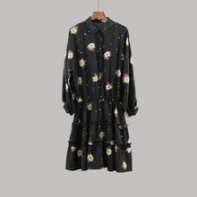 Fashion Design Printed Crepe Long Sleeve Ladies Dress