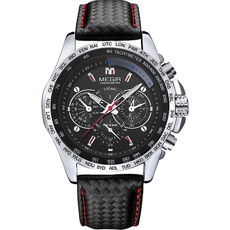 Megir Watch <strong>1010</strong> Men's Black Leather Band Luxury Water Resistant Chronograph Megir Watch Men Business Quartz WristWatch
