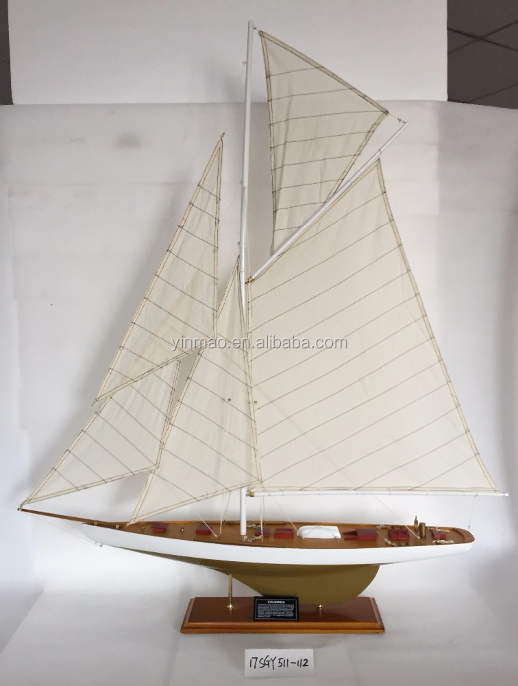 """COLUMBIA"", Wooden racing yacht model,112x17.5x115cm, famous America's cup sailing ship, fast speed vessel boat model"