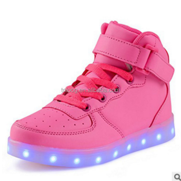 Cheap Bulk Wholesale High Top LED Shoes With Luminous Sole Stock