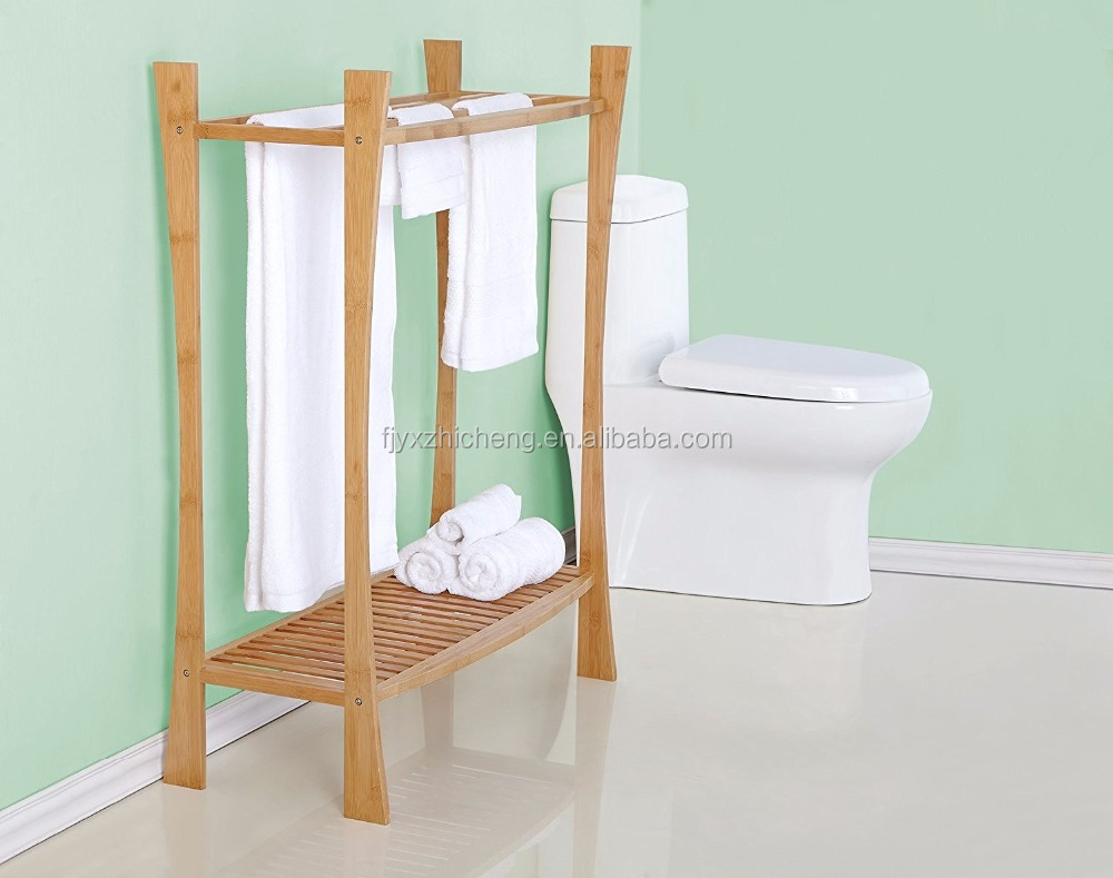 Free Standing Bamboo Towel Rack Stand with Shelf for Bathroom