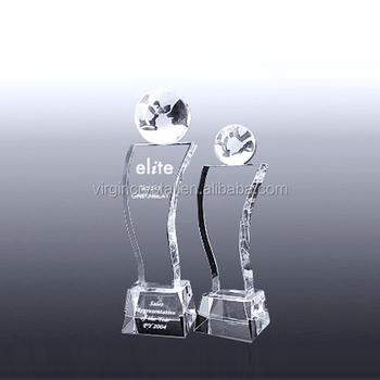 Factory Wholesale Wave New design High quality Crystal Small Globe VIP Trophy