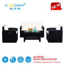 New Model Plastic Sofa Set with Coffee Table,Outdoor Furniture PP Wicker/Rattan Cheap Sofa Sets