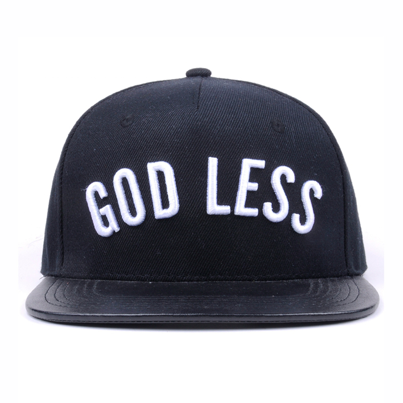 Cheap 5 panel hat with leather strap custom acrylic flat brim snapback hat