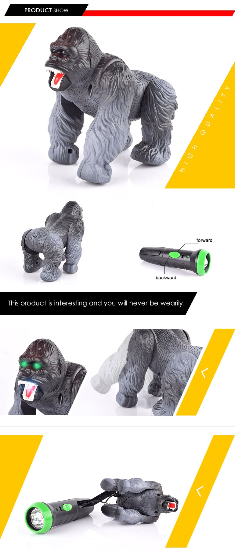 2017 trend 2ch remote control orangutan plastic forest animals toys with low moq
