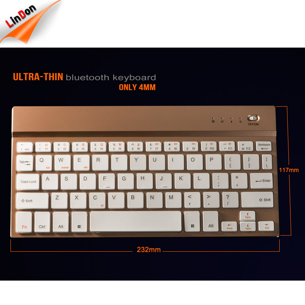 4mm Aluminum Wireless 3.0 Universal Arabic Wireless Keyboard For Tablet Computer With Broadcom Chipset
