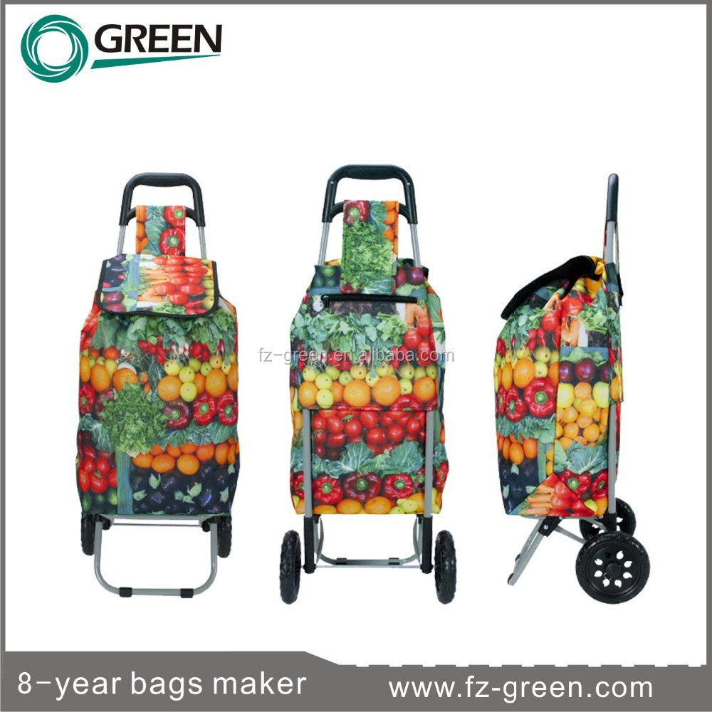Full Print Hot Selling Folding Plastic Cart With Wheels