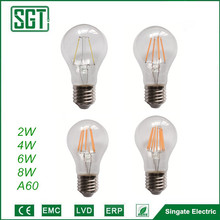 led filament bulb dimmable 2w 4w 6w 8w A60 A19 lighting