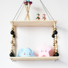 Natural wood bead triangle wall hanging <strong>shelf</strong> for home decor