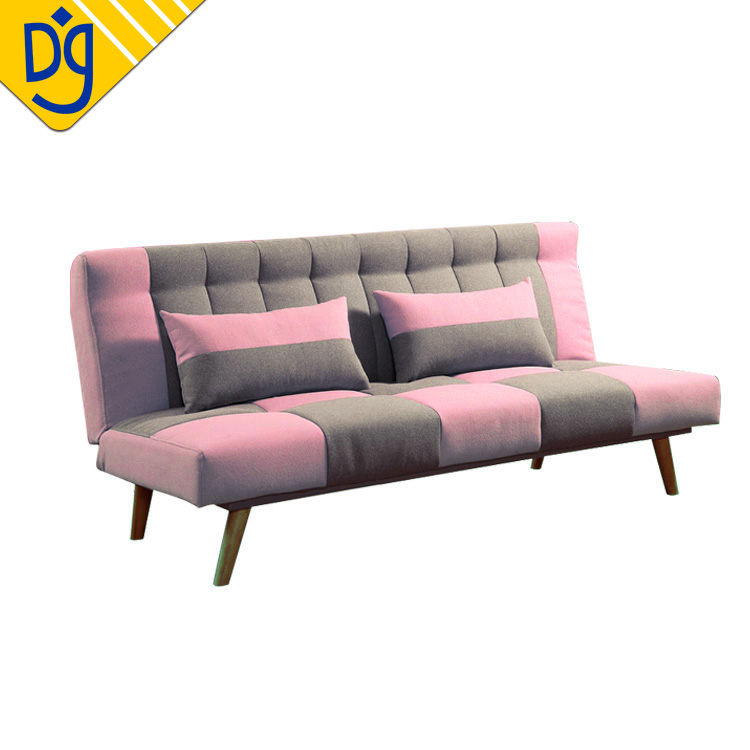 Pink Japanese Style Sleeping Sofa Bed With Patchwork Fabric