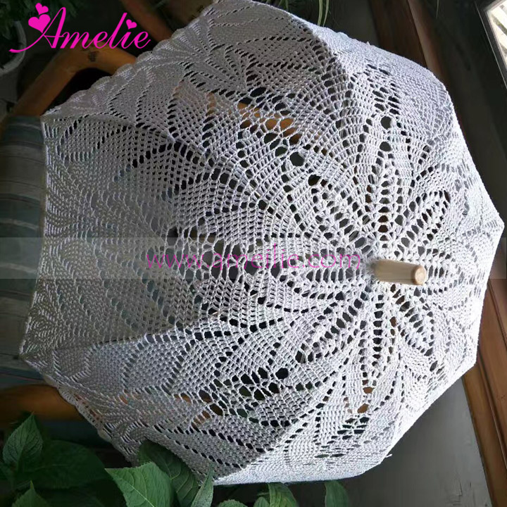 2017 New Crochet Wedding Lace Umbrella Beach Party Elegant Decoration Lace Parasol Umbrella