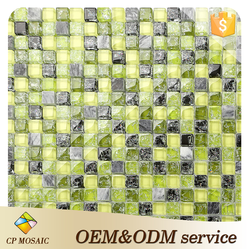 2016 glass mosaic wall decoration ice crack bathroom crystal mosaic glass pattern