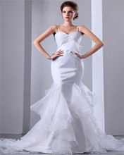 New Design Organza White Spaghetti Straps Sweep Train Mermaid Ruched Piping Wedding Dress For Brides With Feather Decoration