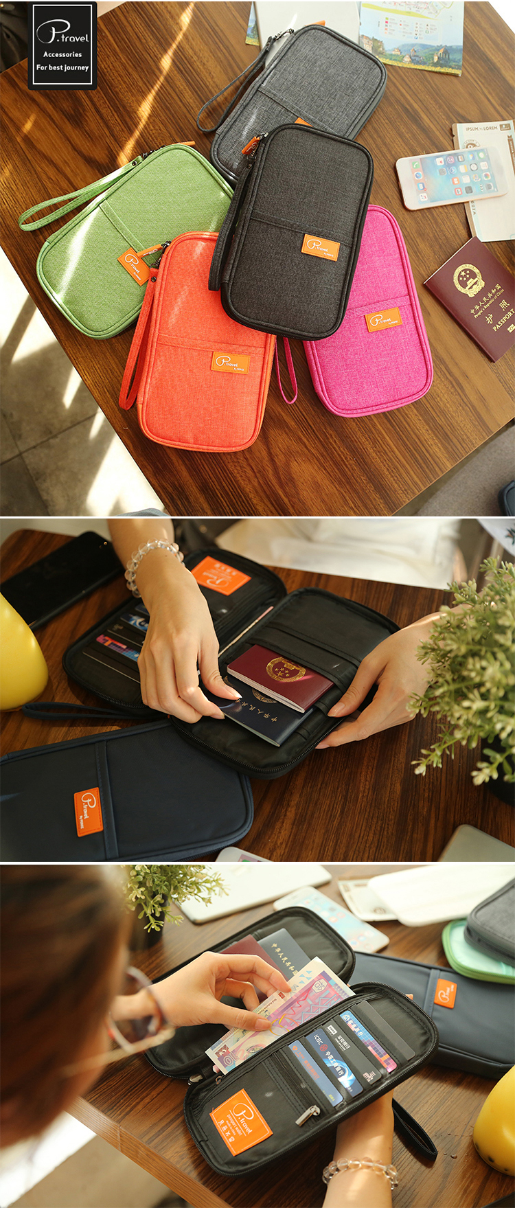 P.travel High Quality Fashionable Family Men Ladies Black Nylon Rfid Passport Holder Travel Wallets