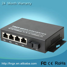 Simplex Bi-Directional 10/100M 1 fiber 4 ethernet single mode 1310/1550nm SC 20KM fiber to copper media converter price