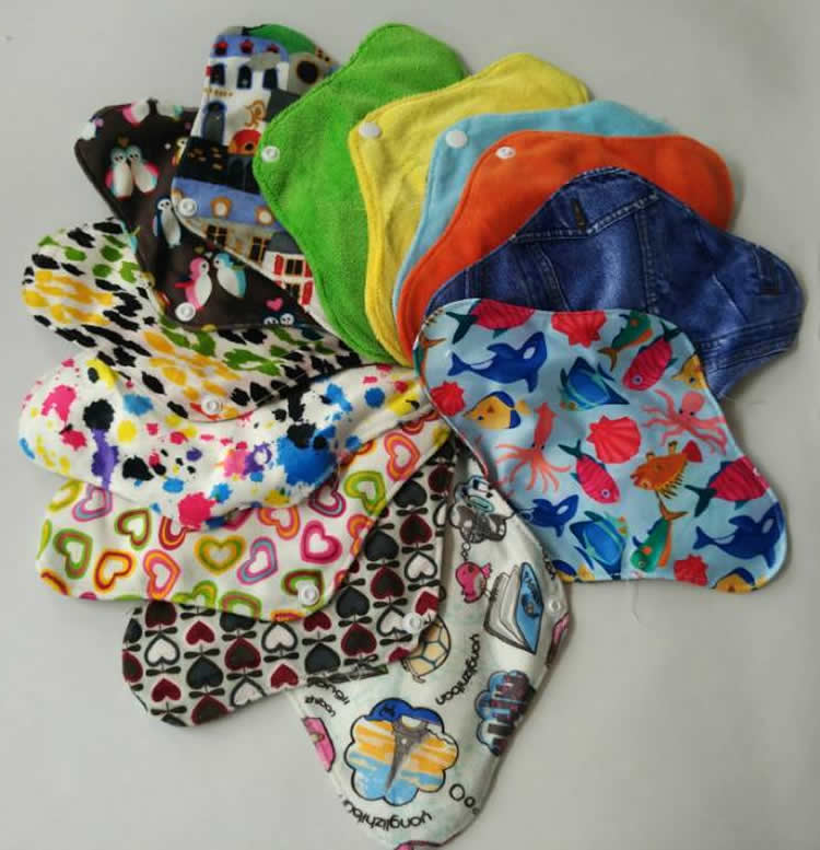 Washable bamboo charcoal women girls feminine pad menstrual cloth pads reusable soft panty liner breathable sanitary napkin pad