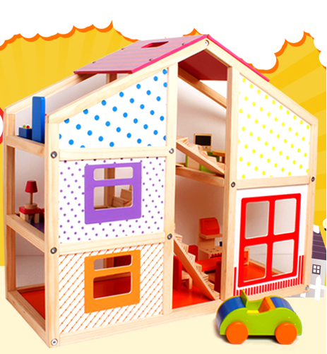 Happy family doll home,baby wooden doll play house
