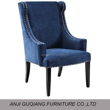 Leather Modern Dining Chair Wood Dining Chair High Back Wing Chair GQ-015
