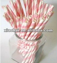 NEW Stripe Red & White Paper Drinking Straws