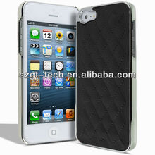 LUXURY Leather + Chrome Back Case Cover for Iphone 4 4s 5 Free Screen Protector