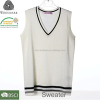Fashion V-neck white plain boys sweater design,wool sweater design for boys