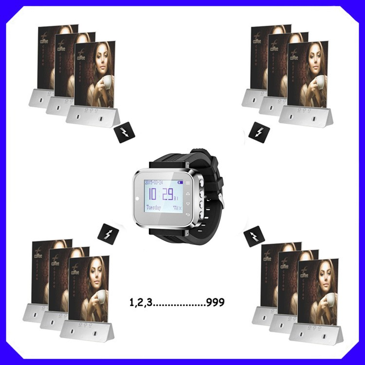 Waiter Calling System Restaurant Pager Digital Receiver With Watch Pager And Buzzer Bell