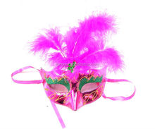 face mask with design with Imitation leather feather flower ball party mask with charming mask