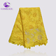 Candlace big flower yellow color african guipure lace fabric for lady