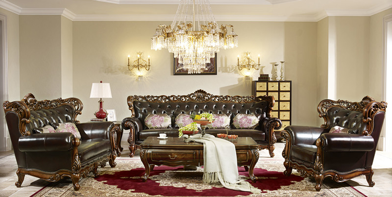 European Style Hand Carved Wood Leather Sofa Set