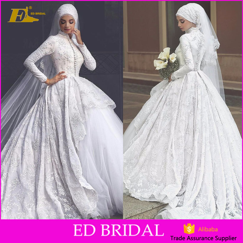 High Quality High Neck Heavy Lace Long Sleeve Princess Bridal Muslim Wedding Dress