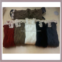Wholesale Women Knitted Long Leg Warmers Cable Knit Lace Leg Warmers, Acrylic Knee High Crochet Adult LegWarmers