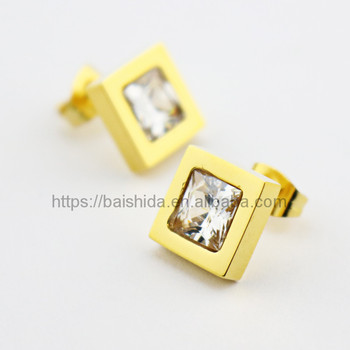 costume jewelry earrings square big crystal charm earrings imitation gold jewelry