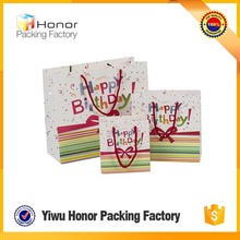 Foldable fancy with logo shopping birthday gift white storage paper bag