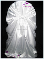 YHC#16 white satin universal polyester banquet damask jacquard plain dyed cheap wholesale wedding chair cover