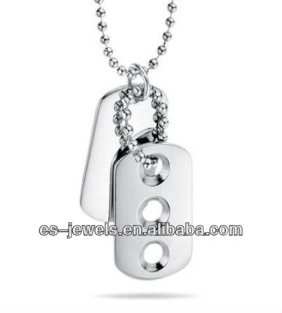 Stainless Steel Double Dog Tag Triple Cut Pendant
