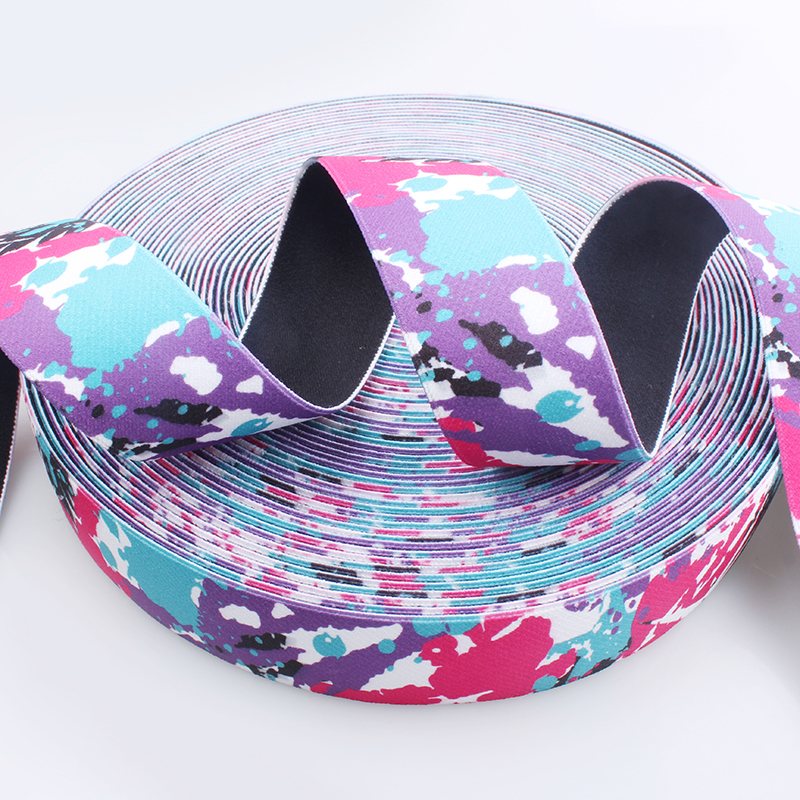 China Manufacture Sublimation Colorful Elastic Printing Webbing For Garment Accessory