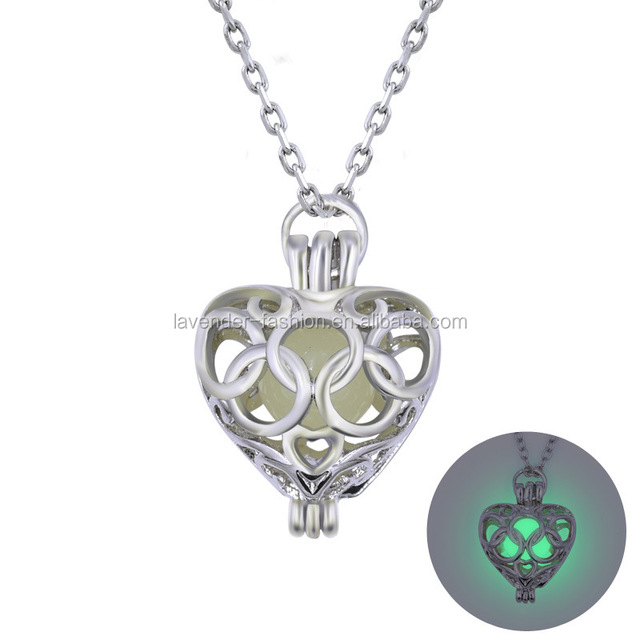 Pendant necklace Small Colorful Glowing Heart Necklace Glow in the Dark Jewelry