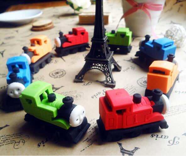 Best students prize Diy creative stationery novelty Locomotive rubber Pencil erasers,kids cartoon railway engine shaped erasers