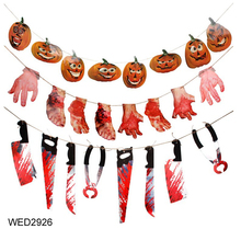 FengRise Horror Props Bloody Hand Haunted Party Spooky Halloween Banner Scary Hand Hanging Decor