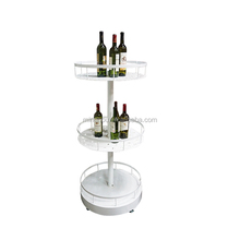 Creative mobile three-tier display fashion exhibition supermarket trolley wine rack circle