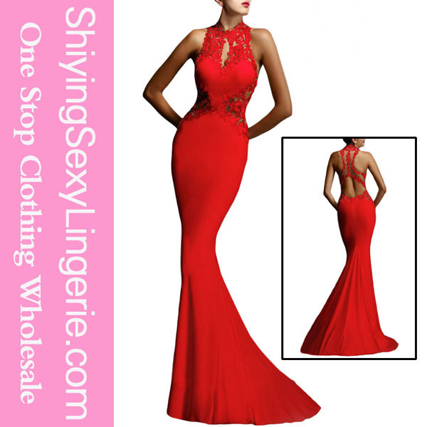 manufacturer Red Open Back Fine Flowers Wedding Evening Gown designer evening gowns for rent in manila