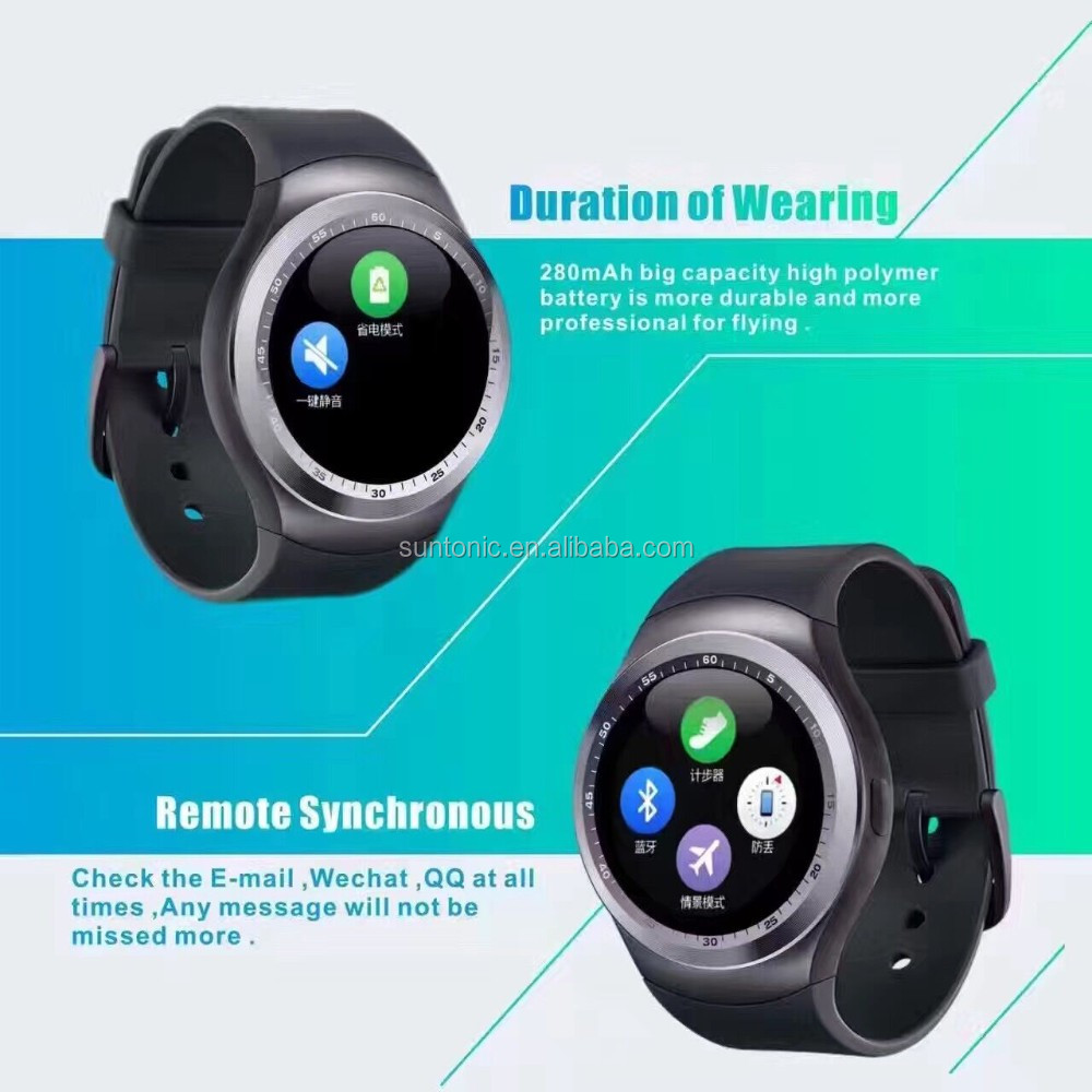 Y1 round shape smart watch with sim card and tf card slot
